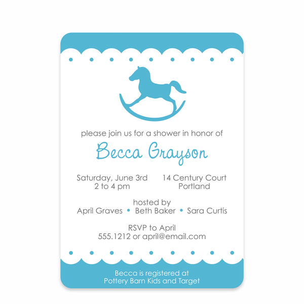 Blue Rocking Horse Baby Shower Invitation
