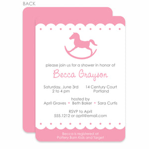 Rocking Horse Pink Baby Shower Invitation