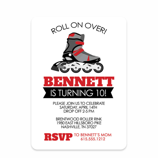 Roller Blade Party Birthday Invitation | Swanky Press | Front