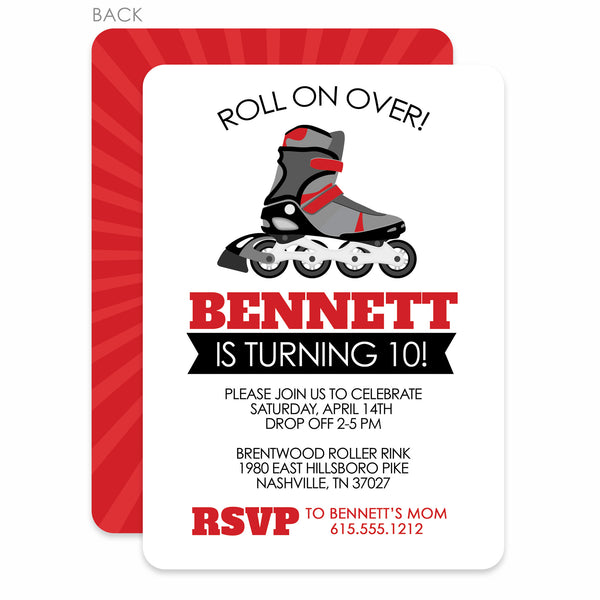 Roller Blade Party Birthday Invitation | Swanky Press | Red