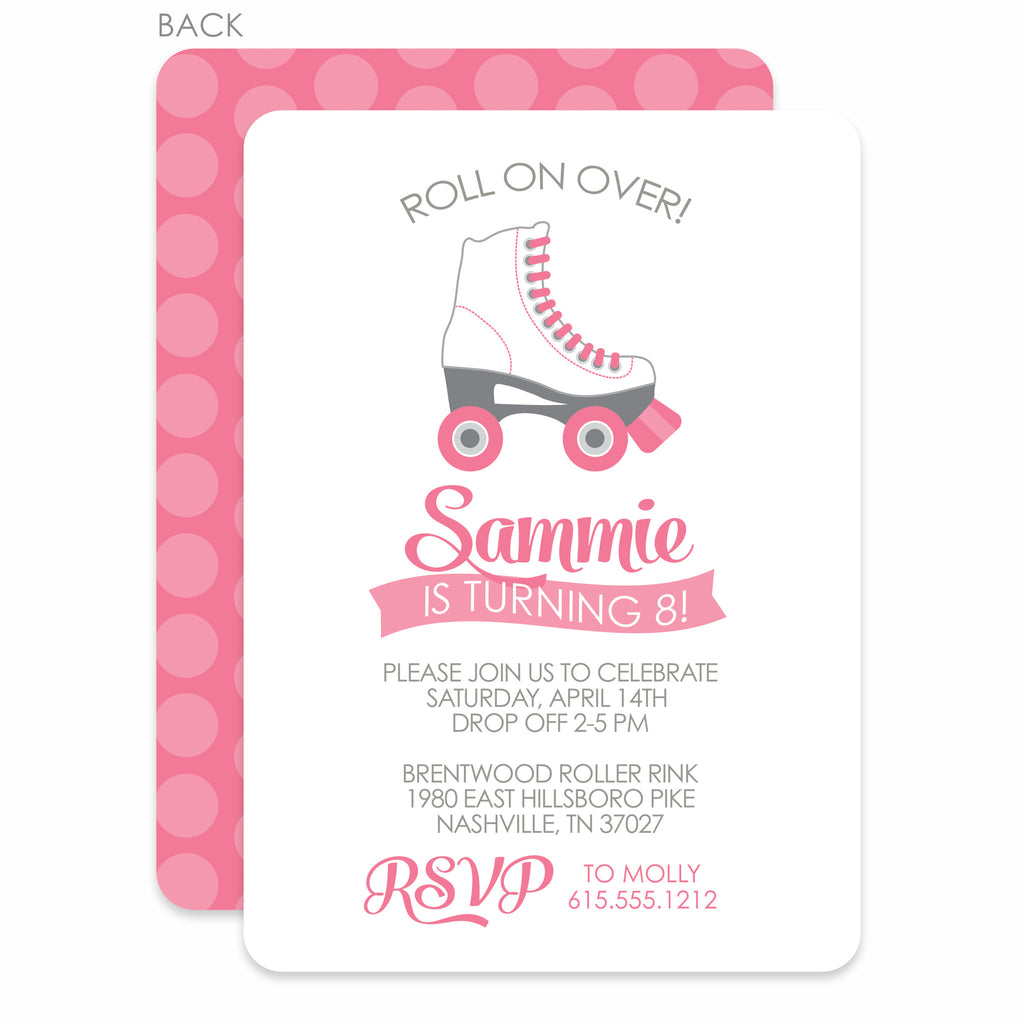 Roller Skating Party Birthday Invitation Pink Printed