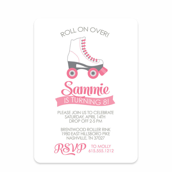 Pink Roller Skate Party Birthday Invitation | Swanky Press | Front