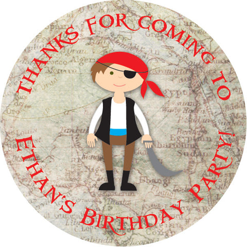 Pirate and Map round favor sticker