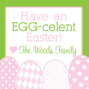 Row of eggs Easter gift tags in green and pastels