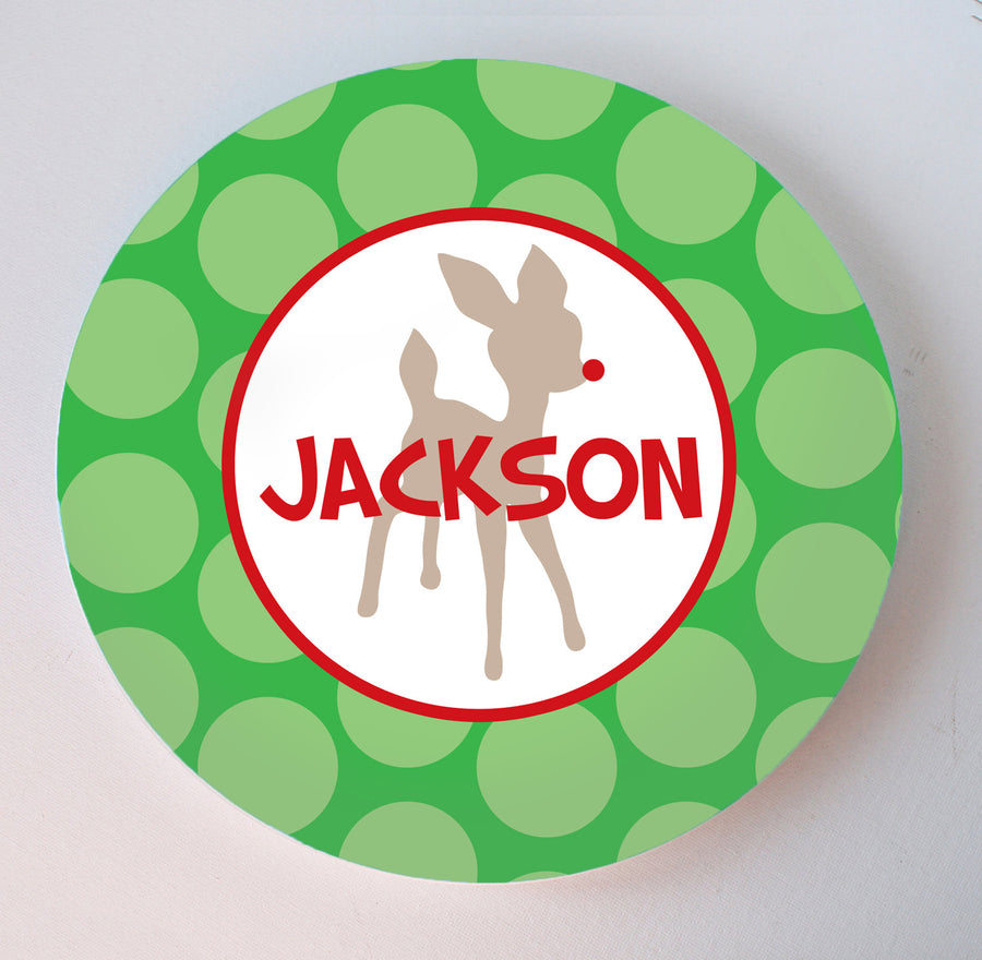 Rudolph the Red Nosed Reindeer custom personalized Christmas Melamine Plate