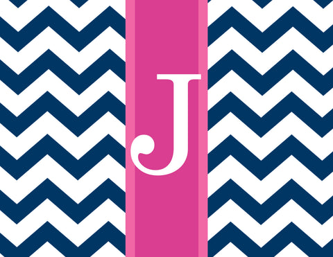 Pink rugby stripe of navy chevron folded notecards