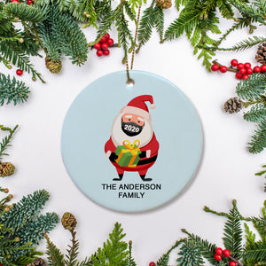 Santa Face Mask 2020 Christmas Ornament, Personalized, PIPSY.COM