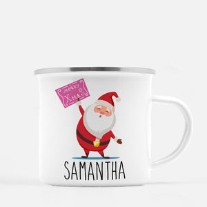 Christmas Camp Mug, santa claus with sign, Personalized, Pipsy.com, silver lip
