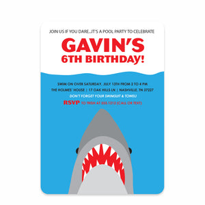 Shark Party Birthday Invitation | Swanky Press | Front