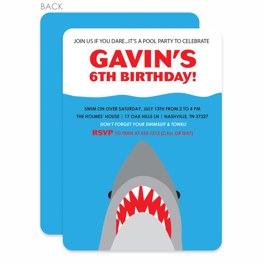 shark pool party birthday invitation printed pipsy