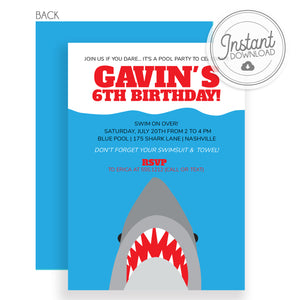Shark Birthday Invitation | Instant Download | Templett Invitation | Pipsy.com