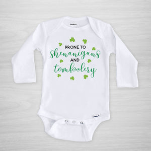 Prone to Shenanigans and Tomfoolery St. Patrick's Day Gerber Onesie, long sleeved
