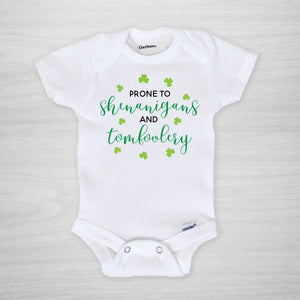 Prone to Shenanigans and Tomfoolery St. Patrick's Day Gerber Onesie, short sleeved