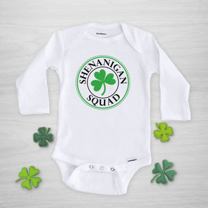 Shenanigan Squad Gerber Onesie® with shamrock, long sleeved, for St. Patrick's Day