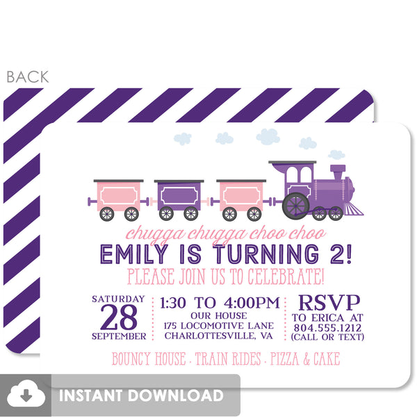 Train Birthday Invitations, Pink and Purple (DIY Printable)