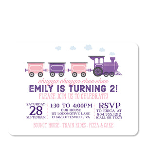 Train birthday party invitation, pink and purple | Swanky Press (front view)