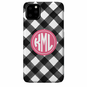 Gingham Watercolor iPhone Case (Black)