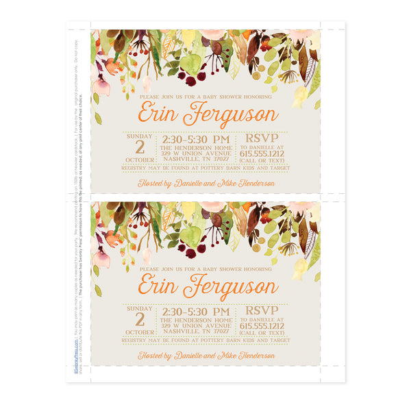 Cascading Flowers Baby Shower Invitation (Printable DIY)