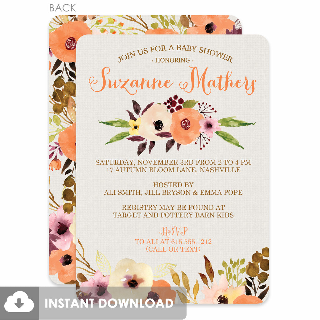 Watercolor Floral Baby Shower Invitation (Printable DIY) – Pipsy