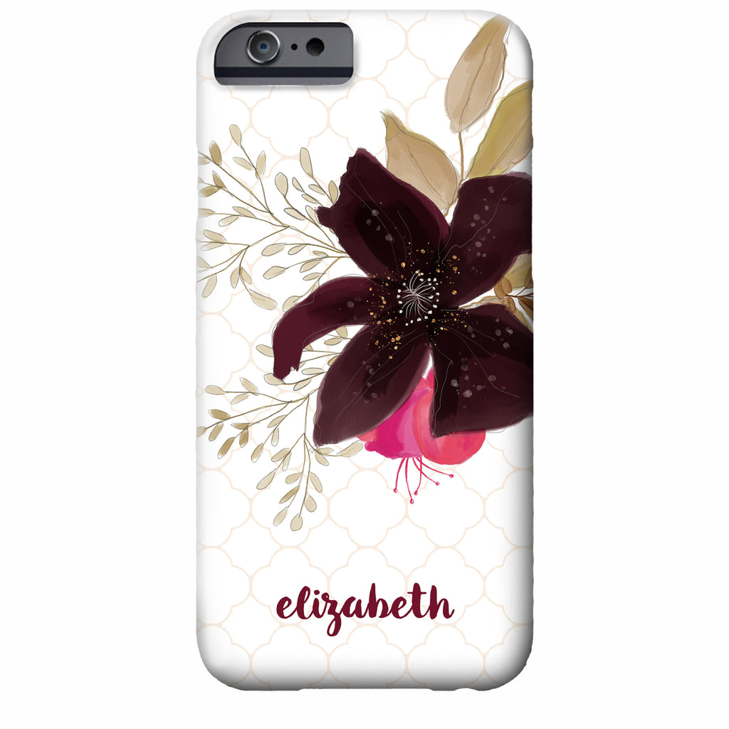 Quatrefoil and Floral Watercolor iPhone Case (Pink and Plum)