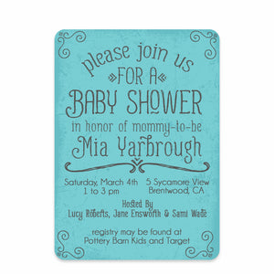 Blue Simple Swirls Baby Shower Invitation