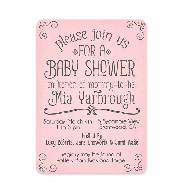 Pink Simple Swirls Baby Shower Invitation