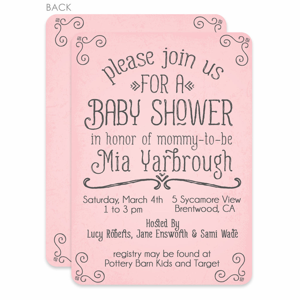 Pink Simple Swirls Baby Shower Invitation – Pipsy