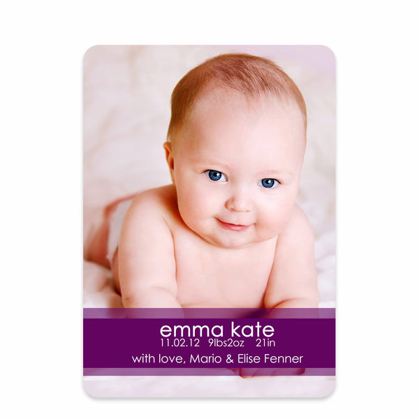 Simply Stated Birth Announcement - Purple