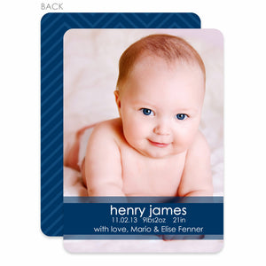 Simply Stated Birth Announcement - Blue