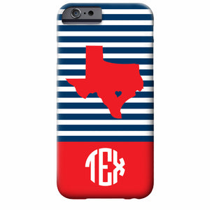 Monogrammed Skinny Stripe State Love iPhone Case | Swanky Press