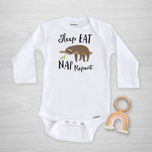 sloth long sleeved gerber onesie®, sleep eat nap repeat