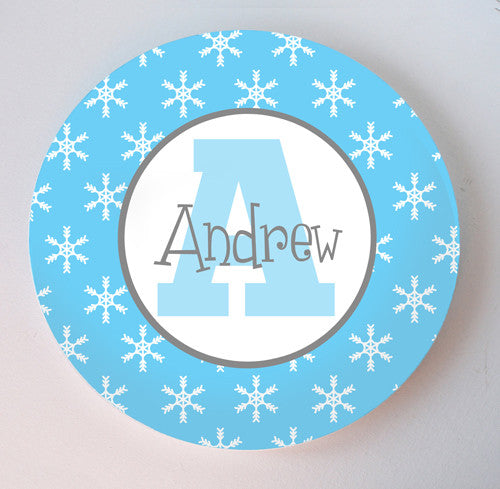 blue and white snowflake christmas hanukkah personalized melamine plate