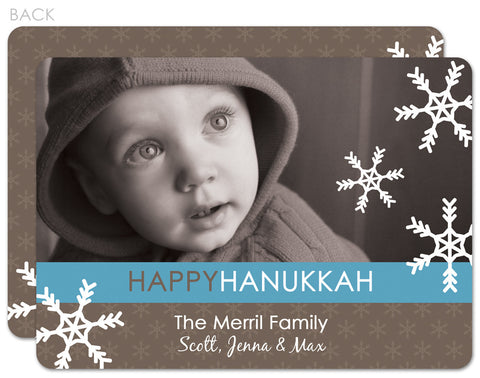 blue and grey hannukah holiday photo cards