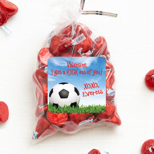 "Soccer Ball | I get a KICK out of you | Valentine Stickers | 2.5"" Square Valentine's Day Sticker for candy bag 