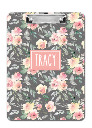 Personalized clipboard, Soft Peach and Gray Floral, PIPSY.COM