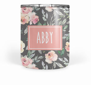 Soft Peach and Gray Floral Double Walled Stainless Tumbler (short)