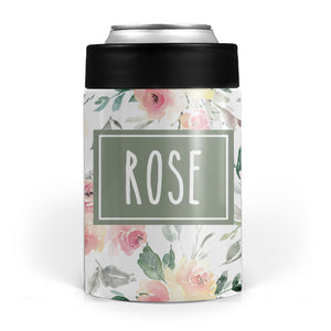 Soft Peach and White Floral Stainless Steel Can Cooler