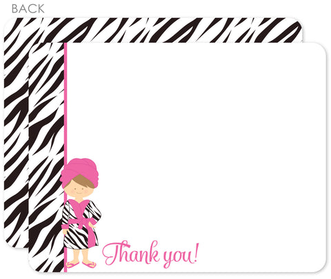 Spa thank you notes in hot pink with zebra stripes