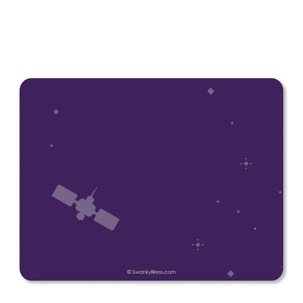 Purple Astronaut in Space Notecard | Swanky Press | Back