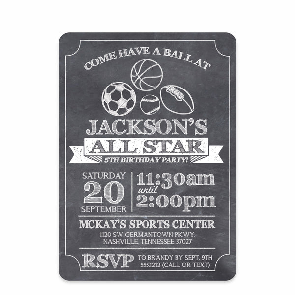 Chalkboard Sports Party Birthday Invitation | Swanky Press | Front