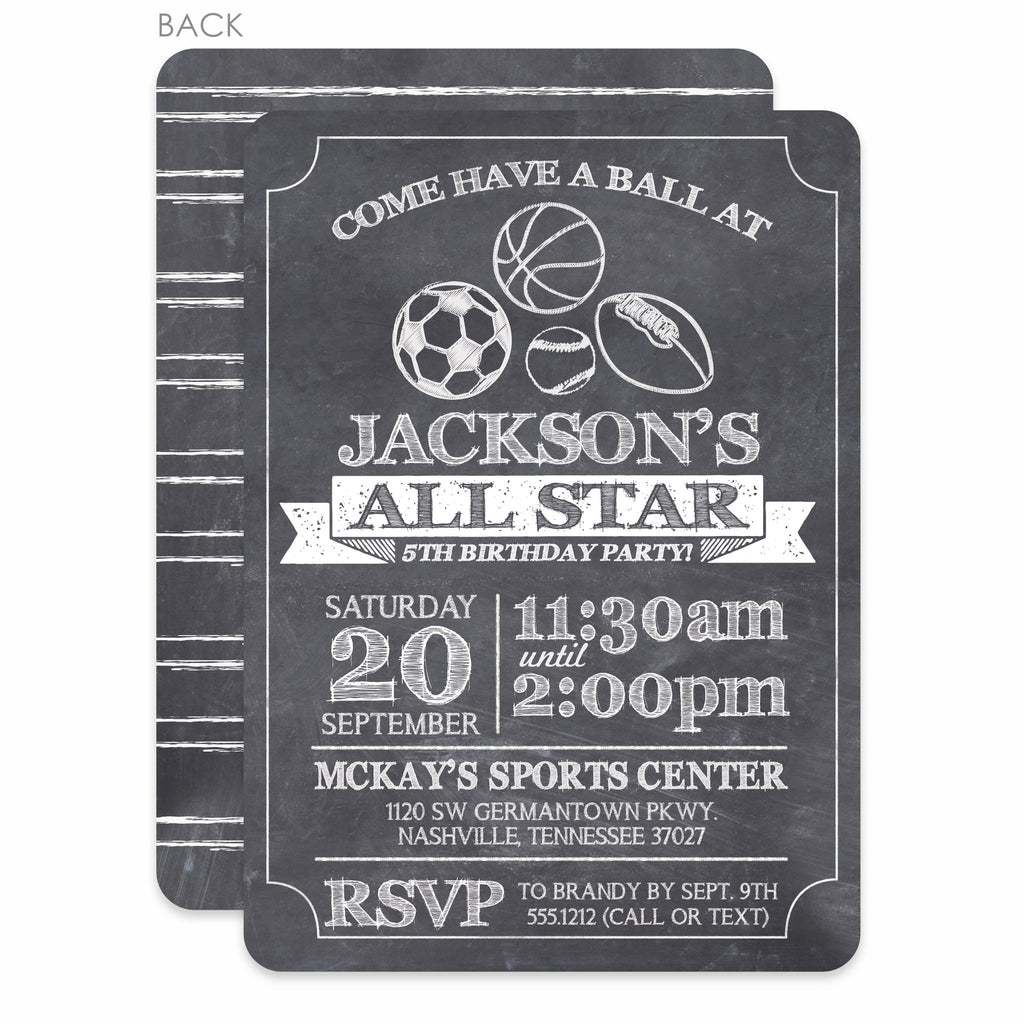 Sports Chalkboard Birthday Invitation Printed Pipsy