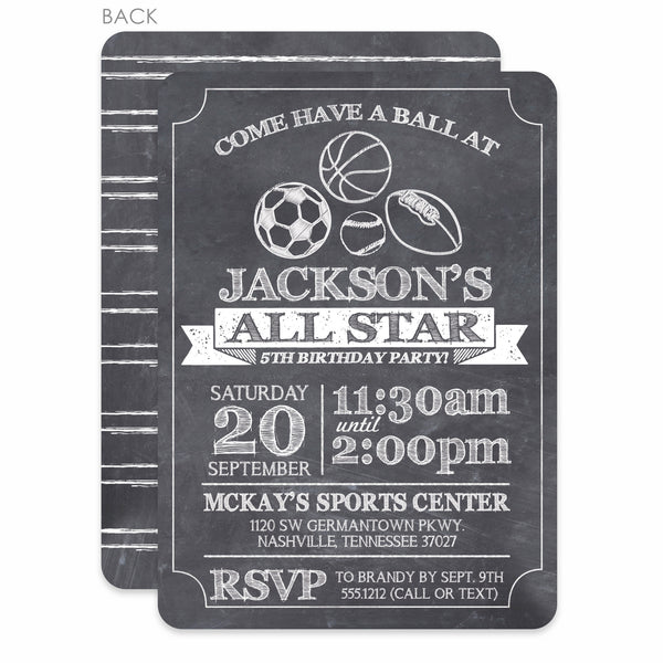 Sports Party Birthday Invitation | Swanky Press | Chalkboard