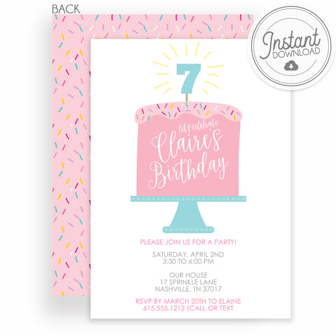 pink sprinkles birthday cake party invitation, DIY Templett, Instant Downlaod, PIPSY.COM