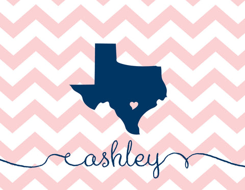 State love folded notecards in navy and ballet chevrons with name