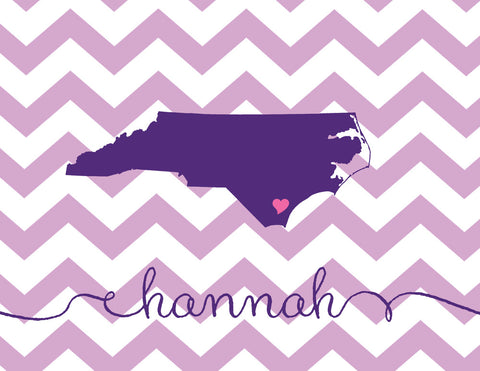State love folded notecards in plum and lavender chevrons with name