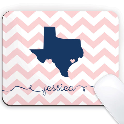 State love mousepad with navy Texas and name on ballet chevrons