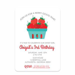 Strawberry Party Birthday Invitation | Swanky Press | Front