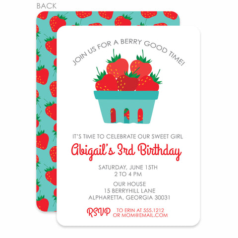 Strawberry Party Birthday Invitation | Swanky Press | Aqua & Red