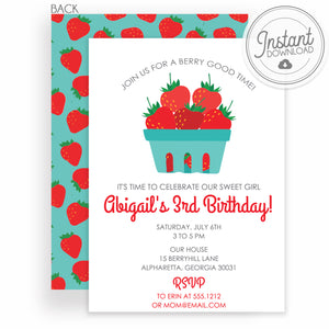 Strawberry Girl Birthday Invitation | Instant Download DIY Editable | Templett Invitation | PIPSY.COM