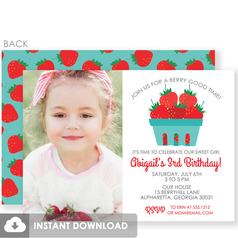 Strawberry Girl Photo Birthday Invitation | DIY Templett Invitation Instant Download | PIPSY.COM